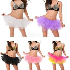 Adult Girls Dance Tutu Petticoat Layered Organza Lace Clubwear Mini Party Skirt