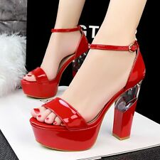 New Womens Strappy Open Toe Platform Block High Heel Sandals Clubwear Sexy Shoes