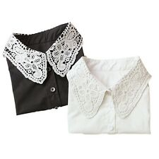 Vintage Women Ladies Fake Lace Shirt Blouse Peter Pan Detachable Collar Tie