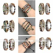 3x Gothic Real Leather Braided Metal Charms Wrap Wristband Cuff Bracelet Punk