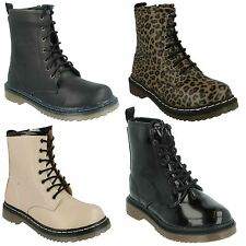 SALE GIRLS LACE UP SYNTHETIC LEATHER BLACK NUDE CASUAL WINTER ANKLE BOOTS H3014