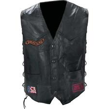Mens Black Leather Biker Motorcycle Harley Rider Chopper Vest Eagle Patch