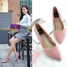 Chic Elegant Mid Heels Sexy Stiletto Suede Pumps Women Pointed-toe OL Work Shoes