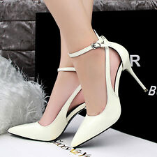 New Women Ankle Strap Stiletto High Heels Pointed-toe Pumps Cut Out Ablaze Shoes