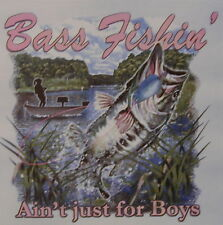 ALL AMERICAN OUTFITTERS GIRLS BASS FISHIN' AIN'T 4 BOYS  FISH SHIRT #293