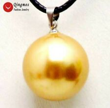 "SALE Round Big 18mm Champagne Sea Shell Pearl pendant cord 17-18"" necklace-5933"