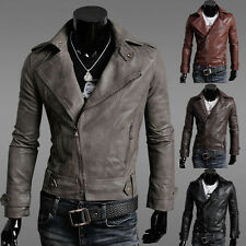 Men's Sexy Slim Fit PU Leather Short Jacket Coat Top Designed Outerwear 4 Size