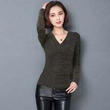 Spring Women Round Neck Long Sleeve Sexy Purl Splicing Party T-Shirt Blouse Tops