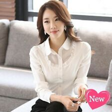 Women's Elegant OL Career Organza Chiffon Shirt Lapel Long Sleeve Button Blouse