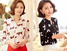 Sweet Women Slim V Neck Long Sleeve Tops Bow Floral Chiffon Blouses Casual Shirt