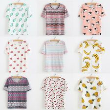 Women Lady Summer Casual Fruit Print Short Sleeve Tee Blouse Tops Basic T-shirt