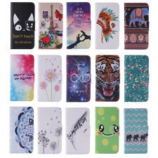 Patterns Card Holder Wallet Case for Samsung iPhone LG PU Leather Stand Cover