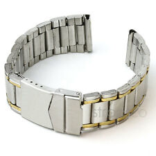 StrapsCo Two Tone Stainless Steel Yellow Gold Mens Watch Band Strap curved end