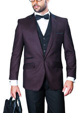 Mens Black Eggplant Plaid One Button Three Piece Wool Blend Suit