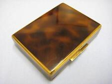 STUNNING VINTAGE FRENCH MADE BRASS AND ENAMEL POWDER COMPACT AND CIGARETTE CASE