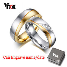 FREE ENGRAVE 1 Pc Ring For Women Men Diamond Simulated Wedding Engagement Band