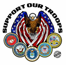 """Support Our Troops Version 2  Decal is 5""""x 5"""" in size."""