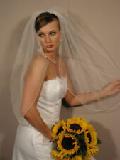 1T Elbow Length Rhinestone Edge White/Ivory Bridal Wedding Bride Veil With Comb