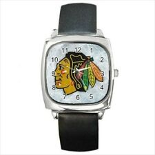 Chicago Blackhawks Round & Square Leather Strap Watch - Hockey NHL