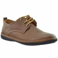 Mens Casual Shoes Lace Up Oxford Modern Loofers Flat Heel Dark Brown