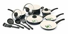 GreenLife 14 Piece Nonstick Ceramic Cookware Set with Soft Grip,3 colors