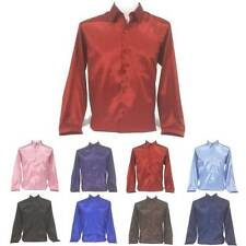 S-M-L-XL-XXL-Long-Sleeve-Button-Front-Color-Men-Thai-Silk-Casual-Dress