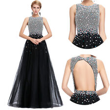 New Beaded Long Bridesmaid Prom Formal  Dress Evening Cocktail Party Ball Gown