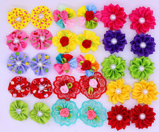 New Pet Dog Hair Bows Round Pealrs Flower Dog Bows Pet Grooming bows Topknot