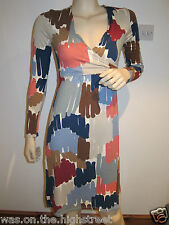 New Ex Boden Jersey Wrap Dress Pink Blue Green Brush print Size 8 12 Reg Long