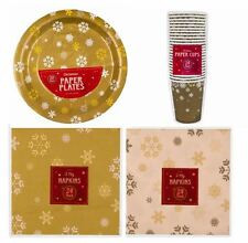 Christmas Partyware - Gold with Snowflakes Plates, Cups, Napkins