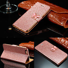 Luxury Magnetic Flip Diamond Bling Leather Wallet Case Cover For Samsung iPhone