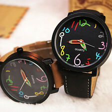 Fashion Men Women Stainless Steel Leather Band Quartz Couples Lovers Wrist Watch