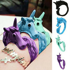 Women Alluring Candy Color Unicorn Finger Ring Enamel Horse Party Jewelry Ring00