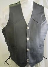 Mens Top Grain Black  Leather Motorcycle Biker Vest $99 Sizes