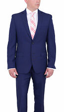 Tallia Orange Trim Fit Navy Blue Pinstriped Two Button Wool Mohair Blend Suit
