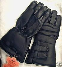 Mens Black Thinsulate insulated leather motorcycle gloves w/ Nylon Rain Covers