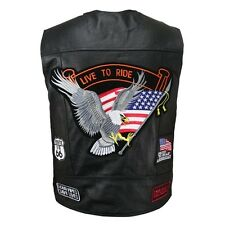 Live to Ride Black Solid Leather Motorcycle Biker Vest Embroidered Top Patches