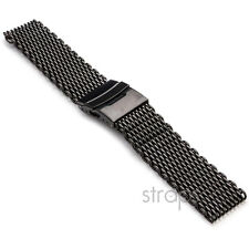 StrapsCo Matte Black Shark Mesh Stainless Steel Watch Band Strap fits Seiko