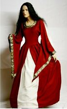 Gothic Medieval Ages Dress Wizard sleeve Robe Brocade red black Alize 36 38 40