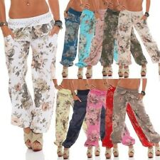 Ladies Baggy Trousers Harem Pants Summer Aladdin Beach Big Rose Cotton