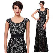 Womens Black Lace Evening Dress Formal Party Cocktail Ball Gown Size 4-6-8-10-12