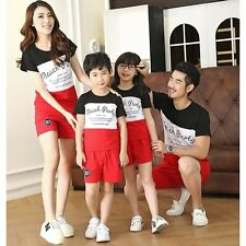 New Fashion Men Women Kids Baby Family Outfits T-Shirt Tops Pants Clothes Set