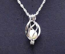 "Big 15mm Drop Sterling Silver 925 Pendant Wish pearl 16"" Necklace gift Set-3624"