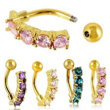 Fashion Reverse Belly Crystal Gem Button Navel Ring Body Piercing Jewelry