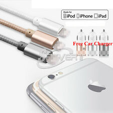 Nylon FAST USB Charger Cable + Dual 3.1A Port Car Adapter For iPhone Pad iPod