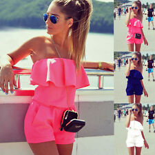 Sexy Womens Crop Top Mini Playsuit Ladies Jumpsuit Summer Beach Shorts Sun Dress