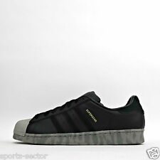 adidas Originals Superstar Leather Mens Trainers Shoes Black/Grey