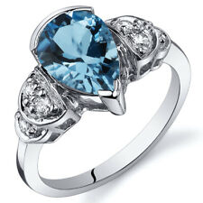 Tear Drop 2.00 cts Swiss Blue Topaz Solitaire Ring Sterling Silver Size 5 to 9