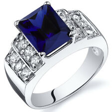 Radiant Cut 3.00 cts Blue Sapphire CZ Ring Sterling Silver Sizes 5 to 9