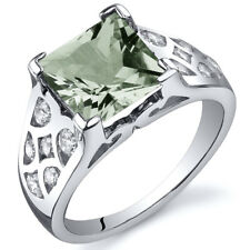 Princess Cut 2.00 cts Green Amethyst CZ Ring Sterling Silver Sizes 5 to 9